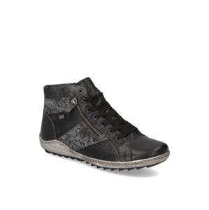 Remonte hladká koža členková obuv čierna