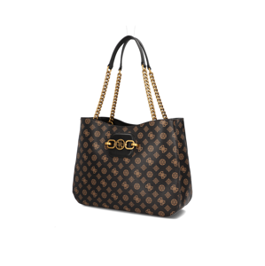GUESS HENSELY LOGO Girlfriend Tote hnedá