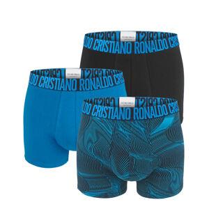 CRISTIANO RONALDO CR7 - 3PACK black & blue nature stripes boxerky z organickej bavlny-XL (92-97 cm)