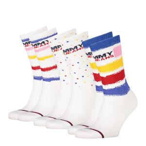 TOMMY HILFIGER - 3PACK Tommy jeans biele ponožky v darčekovom balení -39-42