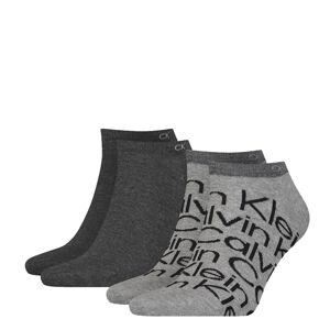CALVIN KLEIN - 2PACK big logo pánske gray členkové ponožky CK-43-46