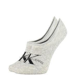 CALVIN KLEIN - CK jeans logo neviditeľné ponožky sivé-UNI