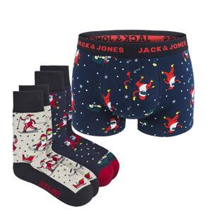 JACK & JONES - 3PACK Jacdegar boxerky a ponožky v darčekovom balení -S (76-81 cm)