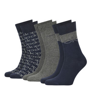 CALVIN KLEIN - 3PACK multilogo CK tmavomodré pánske ponožky v darčekovom balení-UNI