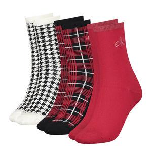 CALVIN KLEIN - 3PACK crystal red combo ponožky v darčekovom balení-UNI