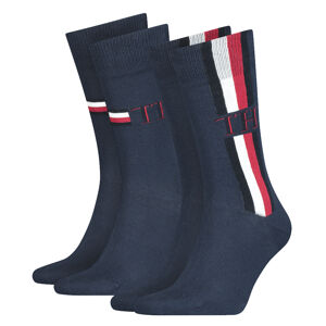TOMMY HILFIGER - 2PACK Tommy original iconic stripe black ponožky-39-42