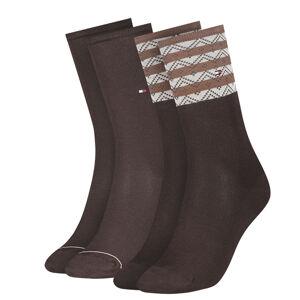 TOMMY HILFIGER - 2PACK folk stripe brown dámske ponožky -35-38