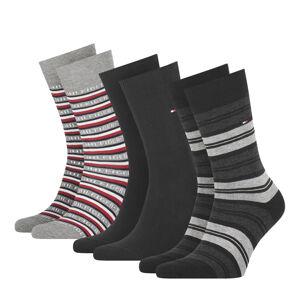 TOMMY HILFIGER - 3PACK TH men Tommy logo black ponožky v darčekovom balení -43-46