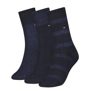 TOMMY HILFIGER - 3PACK sparkle navy dámske ponožky v darčekovom balení-35-38
