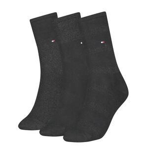 TOMMY HILFIGER - 3PACK sparkle black dámske ponožky v darčekovom balení-35-38