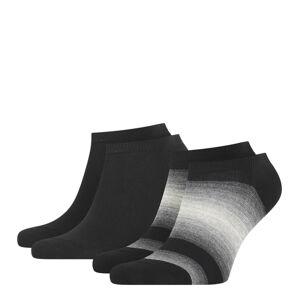 TOMMY HILFIGER - 2PACK TH little stripes black pánske členkové ponožky-39-42
