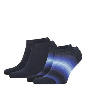 TOMMY HILFIGER - 2PACK TH little stripes navy pánske členkové ponožky-39-42