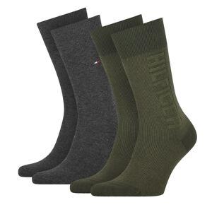 TOMMY HILFIGER - 2PACK TH men rib logo olive pánske ponožky -43-46
