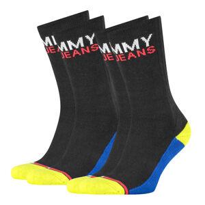 TOMMY HILFIGER - 2PACK Tommy jeans black & yellow logo ponožky-43-46