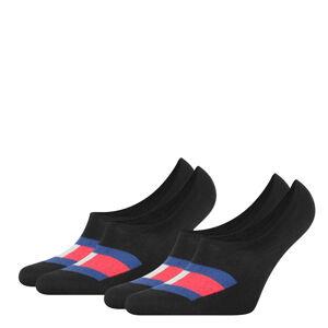 TOMMY HILFIGER - 2PACK Flag mens čierne neviditeľné ponožky-39-42