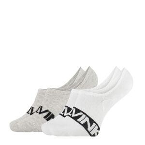 CALVIN KLEIN - 2PACK biele neviditeľné ponožky intense power s logom CK-39-42